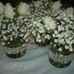 wedding pearls, roses and baby's breath